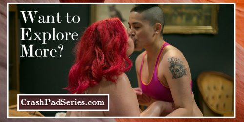 Two queer woman kiss, with the caption 'want to explore more?'